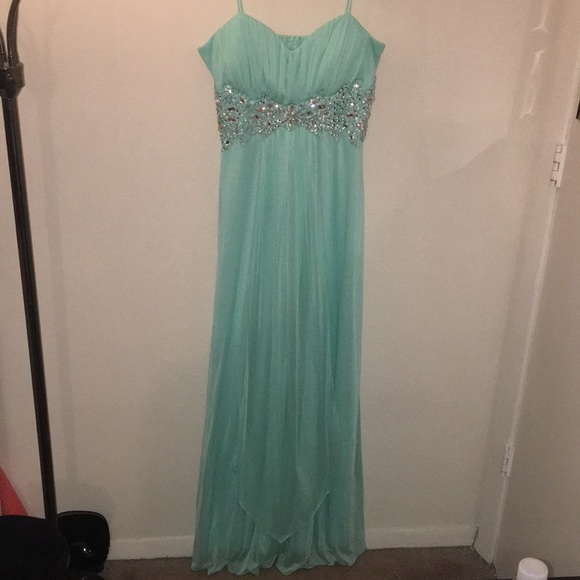 2c068fe58 B. Darlin Dresses   Prom Dress Aqua With Clear Stones And Embroidery ...